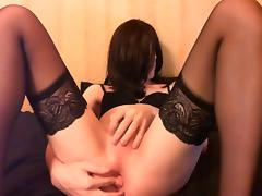 Sissy having fun with a double ended dildo
